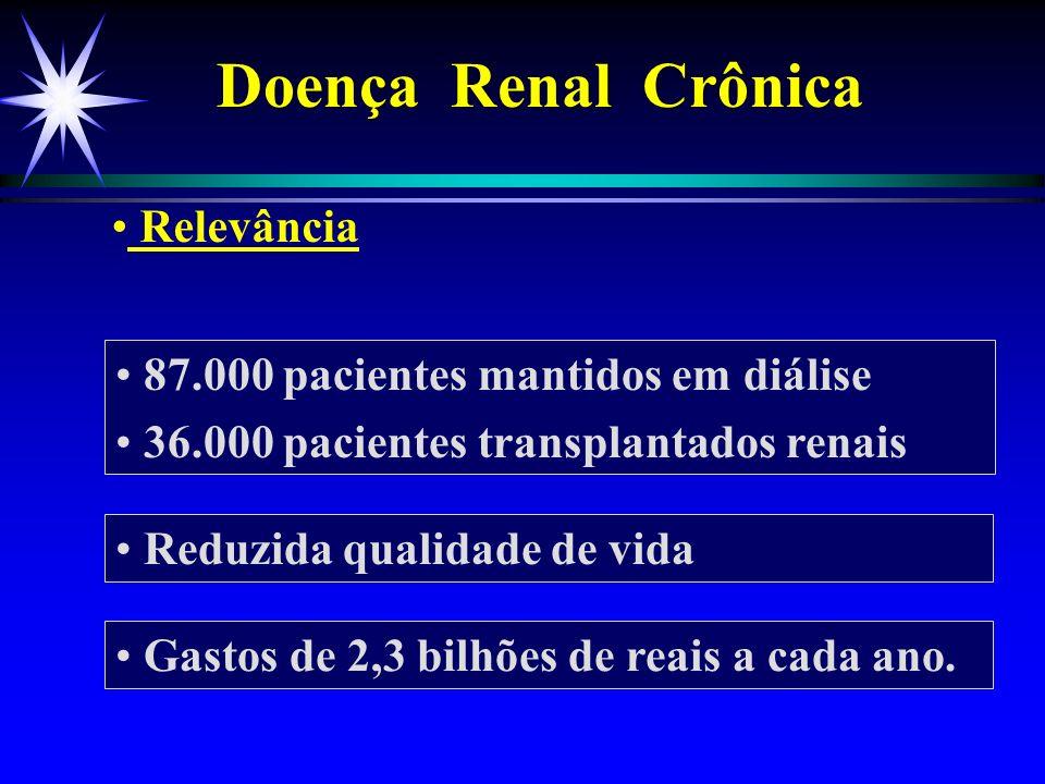 Relevância 87.000 pacientes mantidos em diálise 36.000 pacientes transplantados renais Reduzida qualidade de vida Gastos de 2,3 bilhões de reais a cad