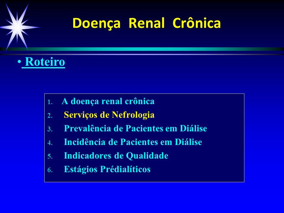 1. 1. A doença renal crônica 2. 2. Serviços de Nefrologia 3. 3. Prevalência de Pacientes em Diálise 4. 4. Incidência de Pacientes em Diálise 5. 5. Ind