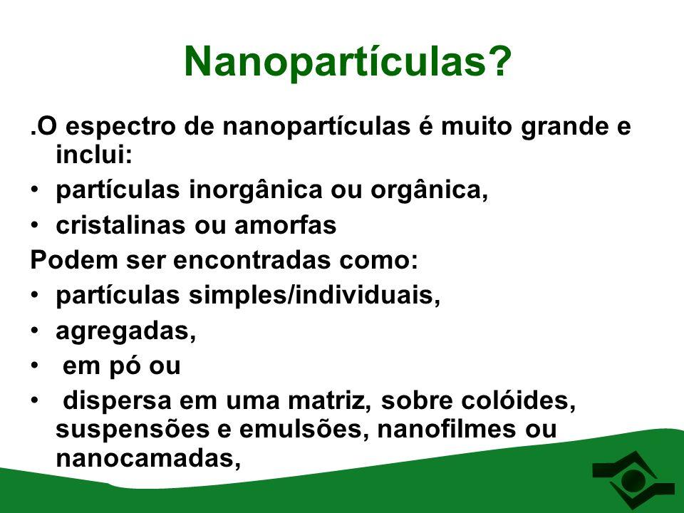 Nanopartículas?.O espectro de nanopartículas é muito grande e inclui: partículas inorgânica ou orgânica, cristalinas ou amorfas Podem ser encontradas