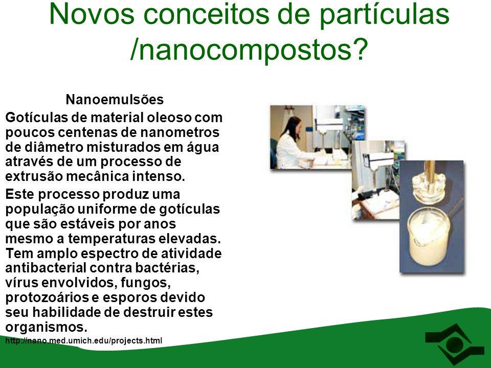 Novos conceitos de partículas /nanocompostos? Nanoemulsões Gotículas de material oleoso com poucos centenas de nanometros de diâmetro misturados em ág