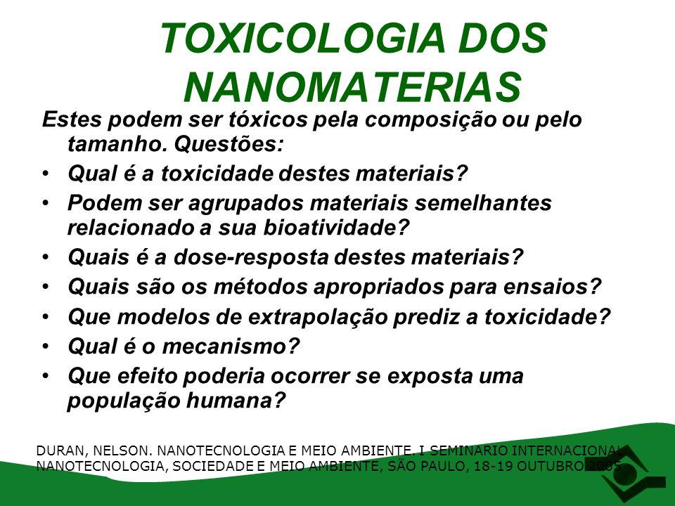 TOXICOLOGIA DOS NANOMATERIAS Estes podem ser tóxicos pela composição ou pelo tamanho. Questões: Qual é a toxicidade destes materiais? Podem ser agrupa