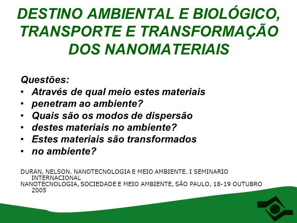 DESTINO AMBIENTAL E BIOLÓGICO, TRANSPORTE E TRANSFORMAÇÃO DOS NANOMATERIAIS Questões: Através de qual meio estes materiais penetram ao ambiente? Quais
