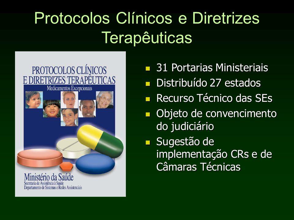 Protocolos Clínicos e Diretrizes Terapêuticas 31 Portarias Ministeriais 31 Portarias Ministeriais Distribuído 27 estados Distribuído 27 estados Recurs