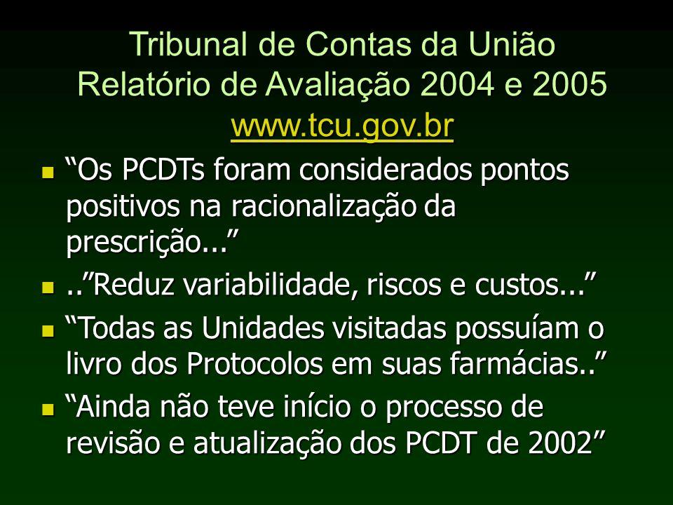 Tribunal de Contas da União Relatório de Avaliação 2004 e 2005 www.tcu.gov.br www.tcu.gov.br Os PCDTs foram considerados pontos positivos na racionali