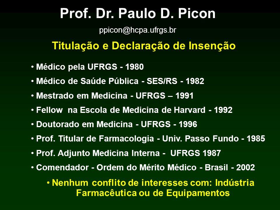 Prof. Dr. Paulo D. Picon ppicon@hcpa.ufrgs.br Titulação e Declaração de Insenção Médico pela UFRGS - 1980 Médico de Saúde Pública - SES/RS - 1982 Mest