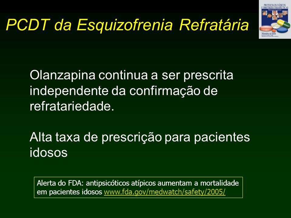 PCDT da Esquizofrenia Refratária Olanzapina continua a ser prescrita independente da confirmação de refratariedade. Alta taxa de prescrição para pacie