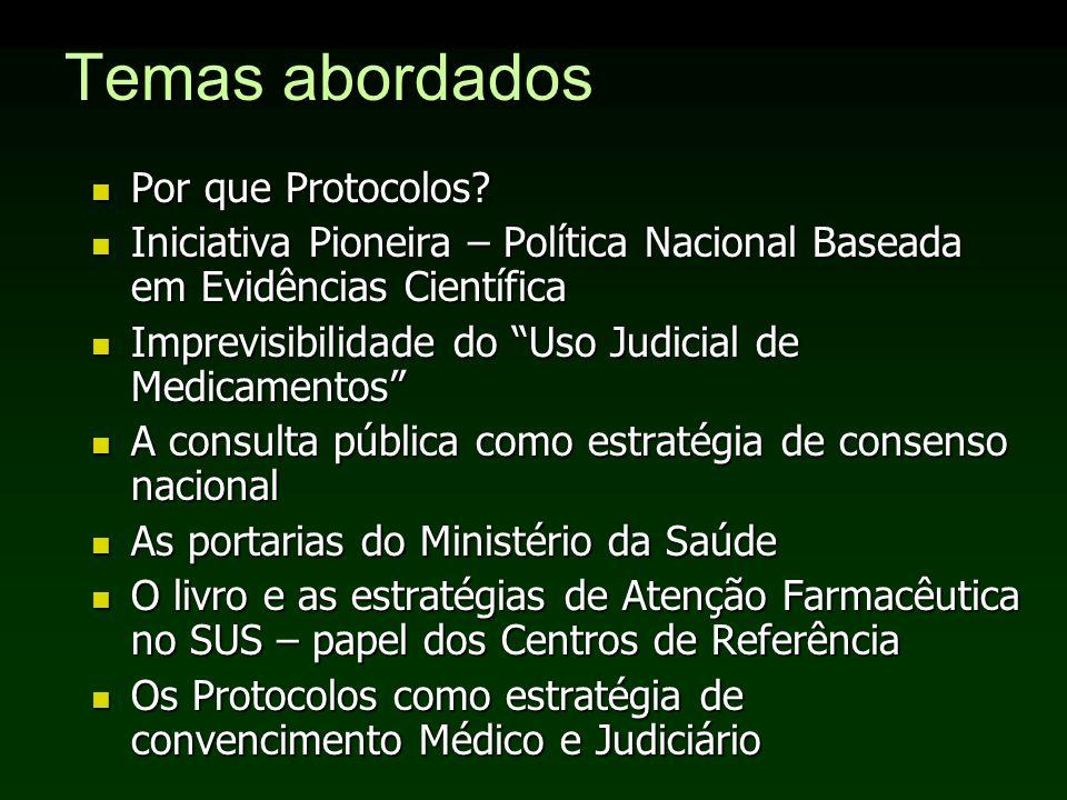 Temas abordados Por que Protocolos? Por que Protocolos? Iniciativa Pioneira – Política Nacional Baseada em Evidências Científica Iniciativa Pioneira –
