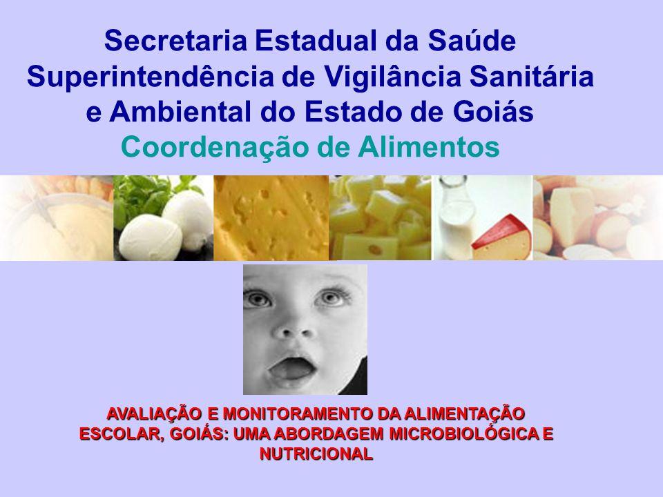 Secretaria Estadual da Saúde Superintendência de Vigilância Sanitária e Ambiental do Estado de Goiás Coordenação de Alimentos AVALIAÇÃO E MONITORAMENT