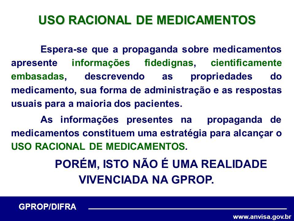 www.anvisa.gov.br GPROP/DIFRA USO RACIONAL DE MEDICAMENTOS Espera-se que a propaganda sobre medicamentos apresente informações fidedignas, cientificam
