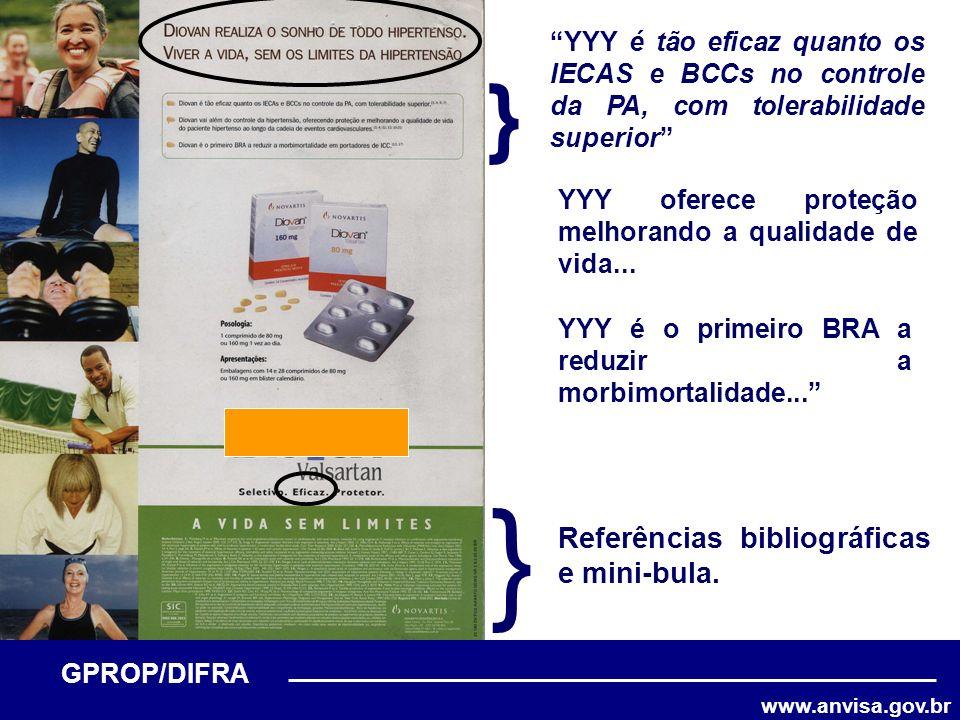 www.anvisa.gov.br GPROP/DIFRA } } YYY é tão eficaz quanto os IECAS e BCCs no controle da PA, com tolerabilidade superior YYY oferece proteção melhoran