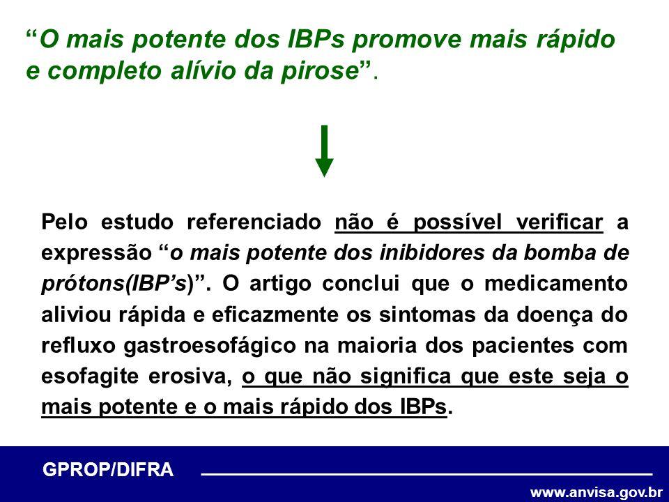 www.anvisa.gov.br GPROP/DIFRA O mais potente dos IBPs promove mais rápido e completo alívio da pirose. Pelo estudo referenciado não é possível verific