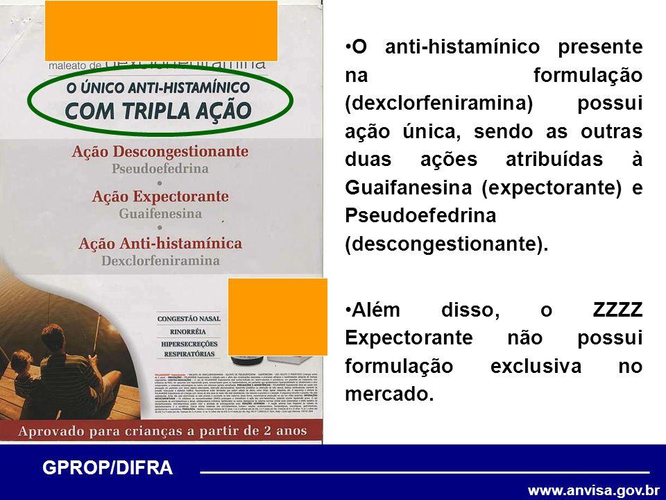 www.anvisa.gov.br GPROP/DIFRA O anti-histamínico presente na formulação (dexclorfeniramina) possui ação única, sendo as outras duas ações atribuídas à