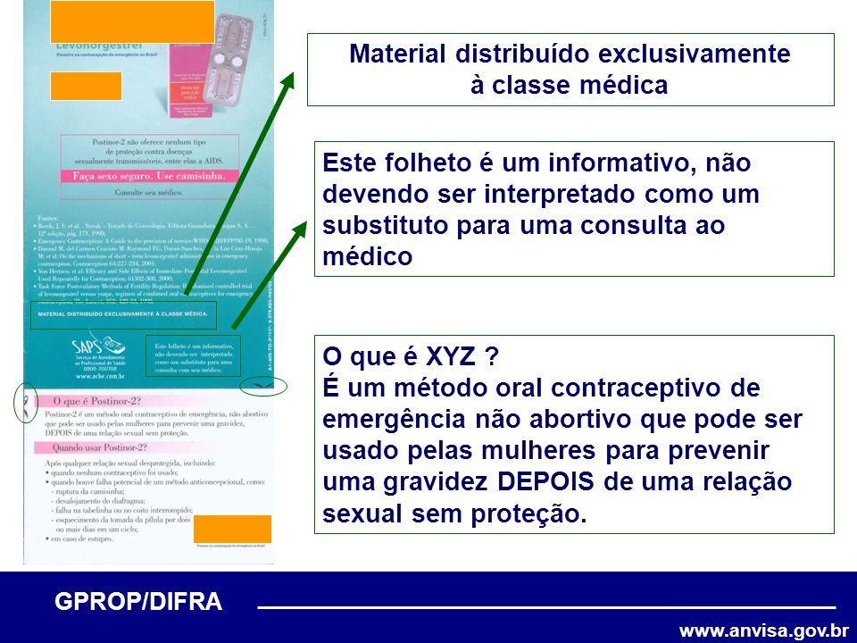 www.anvisa.gov.br GPROP/DIFRA Material distribuído exclusivamente à classe médica Este folheto é um informativo, não devendo ser interpretado como um
