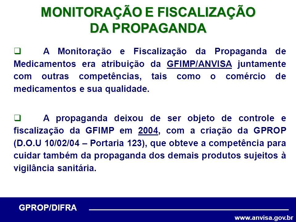 www.anvisa.gov.br GPROP/DIFRA A Monitoração e Fiscalização da Propaganda de Medicamentos era atribuição da GFIMP/ANVISA juntamente com outras competên