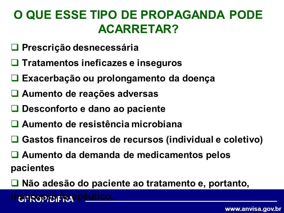 www.anvisa.gov.br GPROP/DIFRA O QUE ESSE TIPO DE PROPAGANDA PODE ACARRETAR? Prescrição desnecessária Tratamentos ineficazes e inseguros Exacerbação ou