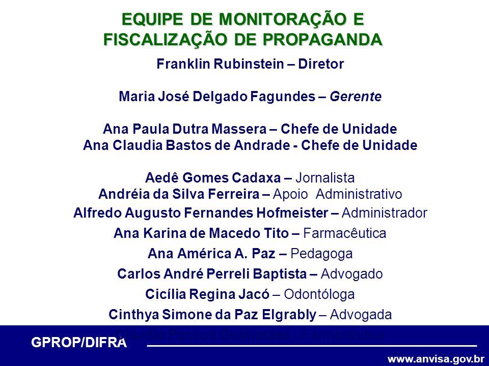 www.anvisa.gov.br GPROP/DIFRA Franklin Rubinstein – Diretor Maria José Delgado Fagundes – Gerente Ana Paula Dutra Massera – Chefe de Unidade Ana Claud