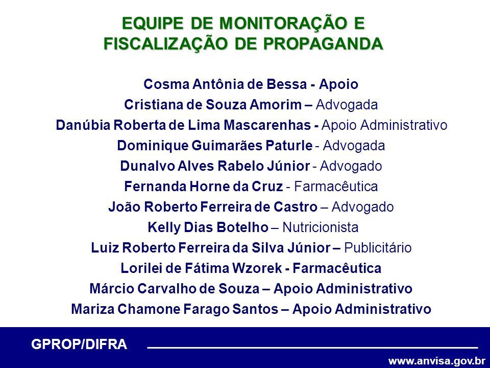 www.anvisa.gov.br GPROP/DIFRA Cosma Antônia de Bessa - Apoio Cristiana de Souza Amorim – Advogada Danúbia Roberta de Lima Mascarenhas - Apoio Administ
