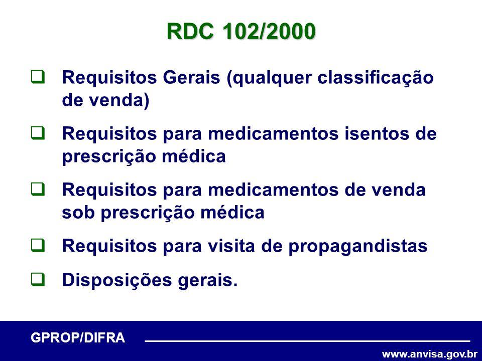 www.anvisa.gov.br GPROP/DIFRA RDC 102/2000 Requisitos Gerais (qualquer classificação de venda) Requisitos para medicamentos isentos de prescrição médi