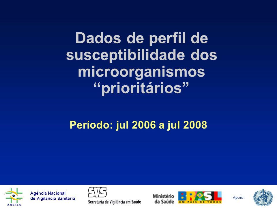 Agência Nacional de Vigilância Sanitária Apoio: Dados de perfil de susceptibilidade dos microorganismos prioritários Período: jul 2006 a jul 2008