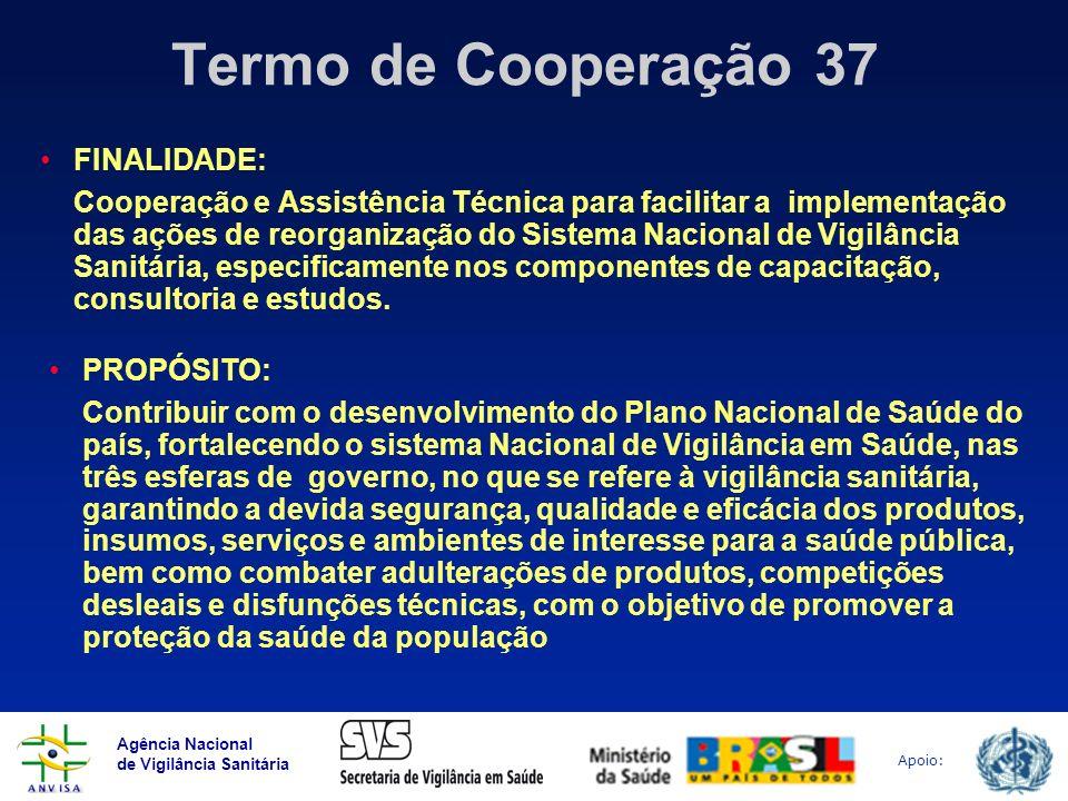 Agência Nacional de Vigilância Sanitária Apoio: Termo de Cooperação 37 FINALIDADE: Cooperação e Assistência Técnica para facilitar a implementação das