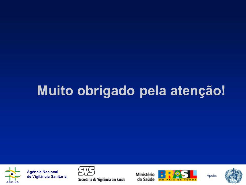 Agência Nacional de Vigilância Sanitária Apoio: Muito obrigado pela atenção!