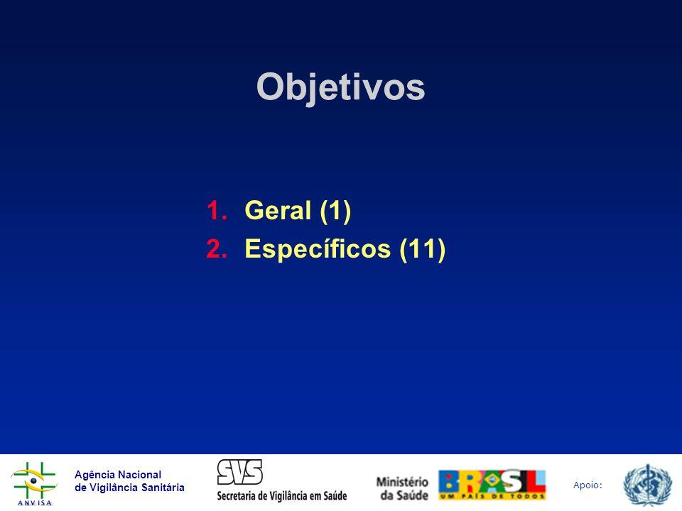 Agência Nacional de Vigilância Sanitária Apoio: Objetivos 1.Geral (1) 2.Específicos (11)