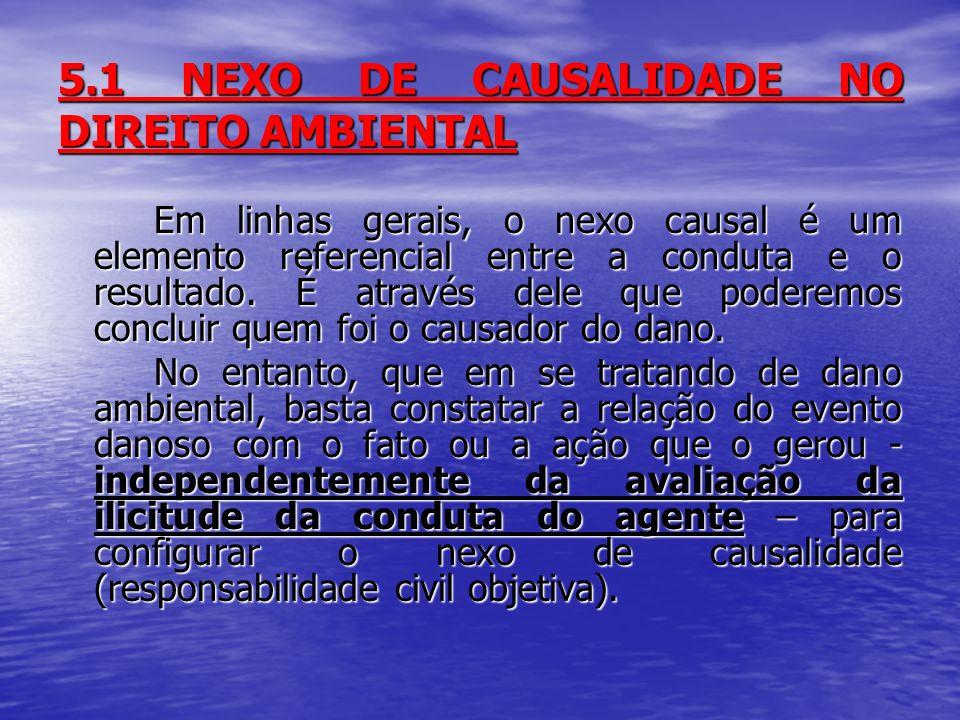 5.1 NEXO DE CAUSALIDADE NO DIREITO AMBIENTAL Em linhas gerais, o nexo causal é um elemento referencial entre a conduta e o resultado.