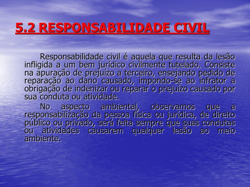 5.2 RESPONSABILIDADE CIVIL Responsabilidade civil é aquela que resulta da lesão infligida a um bem jurídico civilmente tutelado. Consiste na apuração