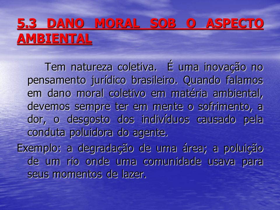 5.3 DANO MORAL SOB O ASPECTO AMBIENTAL Tem natureza coletiva.