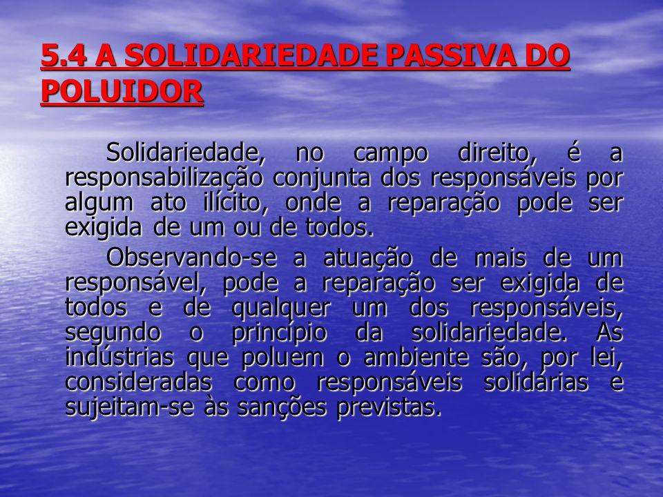 5.4 A SOLIDARIEDADE PASSIVA DO POLUIDOR Solidariedade, no campo direito, é a responsabilização conjunta dos responsáveis por algum ato ilícito, onde a reparação pode ser exigida de um ou de todos.