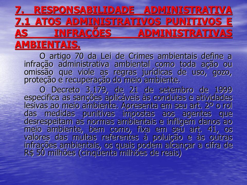7. RESPONSABILIDADE ADMINISTRATIVA 7.1 ATOS ADMINISTRATIVOS PUNITIVOS E AS INFRAÇÕES ADMINISTRATIVAS AMBIENTAIS. O artigo 70 da Lei de Crimes ambienta