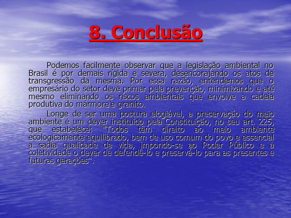 8. Conclusão Podemos facilmente observar que a legislação ambiental no Brasil é por demais rígida e severa, desencorajando os atos de transgressão da