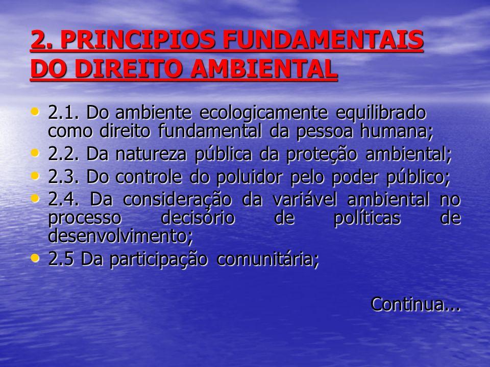 2. PRINCIPIOS FUNDAMENTAIS DO DIREITO AMBIENTAL 2.1. Do ambiente ecologicamente equilibrado como direito fundamental da pessoa humana; 2.1. Do ambient