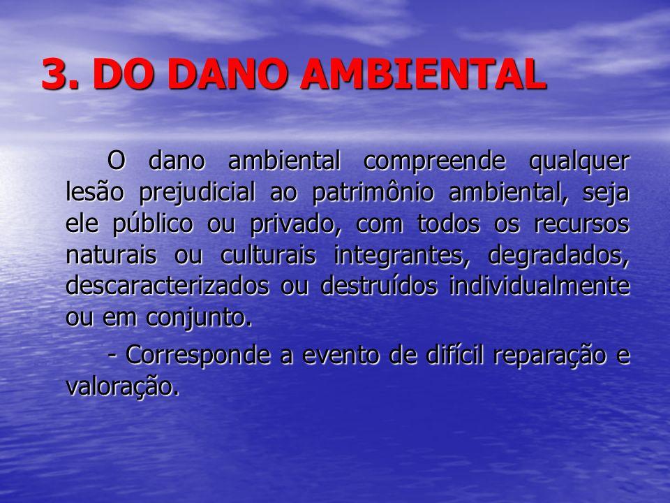 3. DO DANO AMBIENTAL O dano ambiental compreende qualquer lesão prejudicial ao patrimônio ambiental, seja ele público ou privado, com todos os recurso