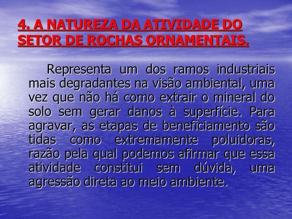 4. A NATUREZA DA ATIVIDADE DO SETOR DE ROCHAS ORNAMENTAIS. Representa um dos ramos industriais mais degradantes na visão ambiental, uma vez que não há