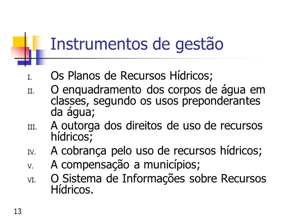 Instrumentos de gestão I. Os Planos de Recursos Hídricos; II. O enquadramento dos corpos de água em classes, segundo os usos preponderantes da água; I