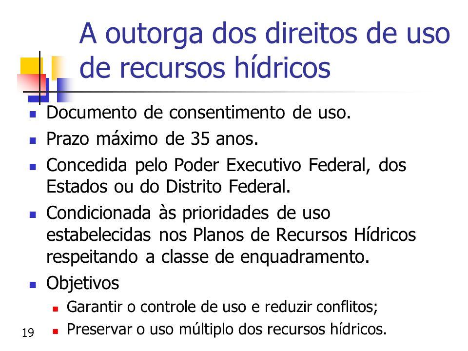 A outorga dos direitos de uso de recursos hídricos Documento de consentimento de uso. Prazo máximo de 35 anos. Concedida pelo Poder Executivo Federal,