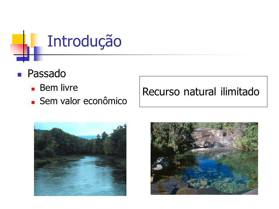 Introdução Atualmente Aumento da demanda Depleção da qualidade Conflitos pelo uso Recurso escasso, com valor econômico Gerenciamento dos recursos hídricos