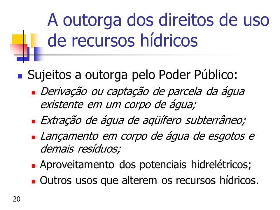 A outorga dos direitos de uso de recursos hídricos Sujeitos a outorga pelo Poder Público: Derivação ou captação de parcela da água existente em um cor