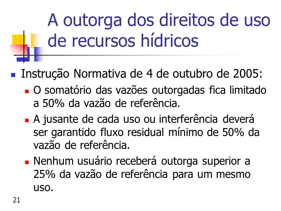 A outorga dos direitos de uso de recursos hídricos Instrução Normativa de 4 de outubro de 2005: O somatório das vazões outorgadas fica limitado a 50%