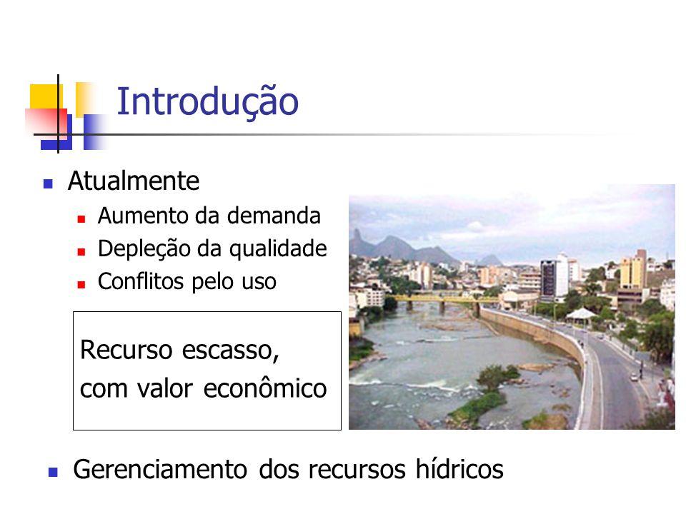 Introdução Atualmente Aumento da demanda Depleção da qualidade Conflitos pelo uso Recurso escasso, com valor econômico Gerenciamento dos recursos hídr