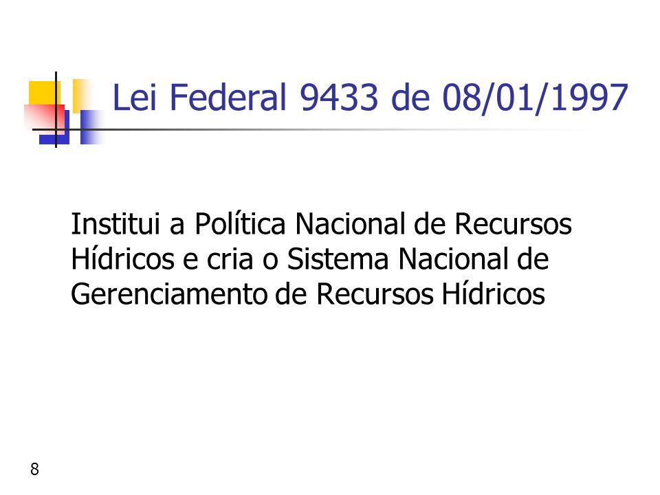 Lei Federal 9433 de 08/01/1997 Institui a Política Nacional de Recursos Hídricos e cria o Sistema Nacional de Gerenciamento de Recursos Hídricos 8