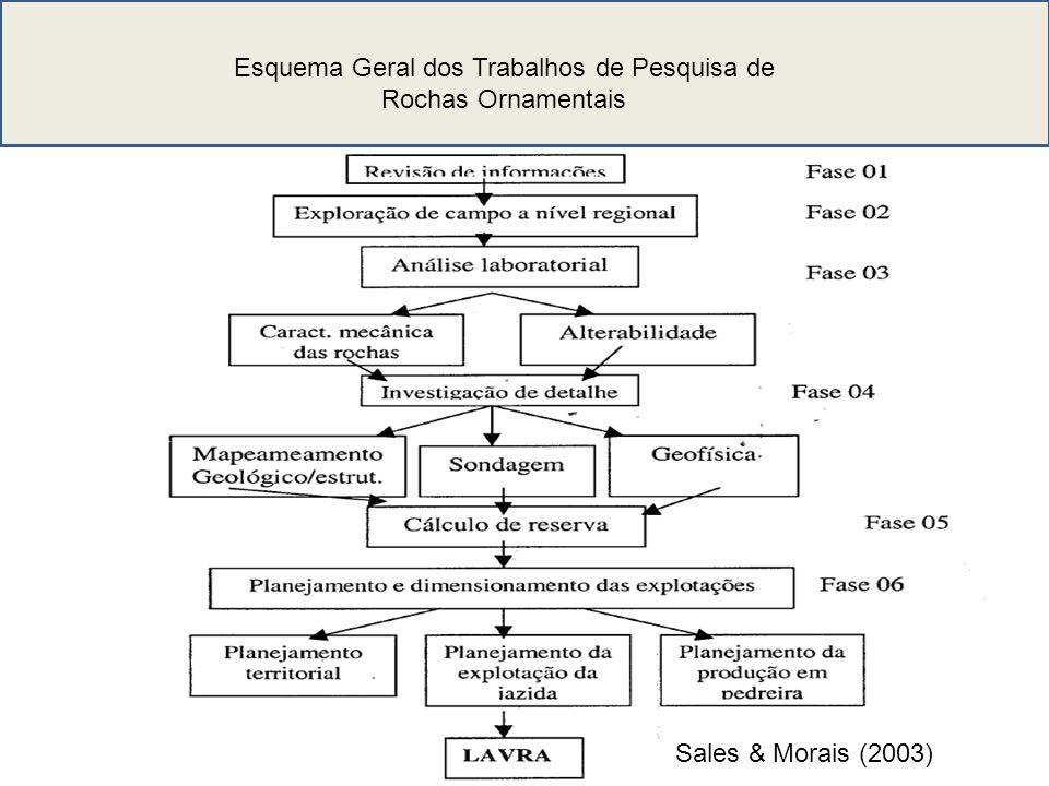 Esquema Geral dos Trabalhos de Pesquisa de Rochas Ornamentais Sales & Morais (2003)