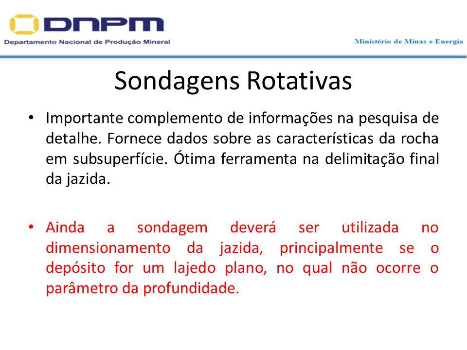 Sondagens Rotativas Importante complemento de informações na pesquisa de detalhe. Fornece dados sobre as características da rocha em subsuperfície. Ót