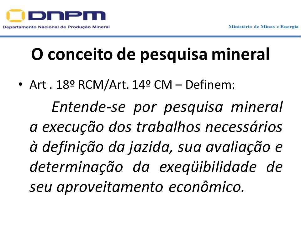 O conceito de pesquisa mineral Art. 18º RCM/Art. 14º CM – Definem: Entende-se por pesquisa mineral a execução dos trabalhos necessários à definição da