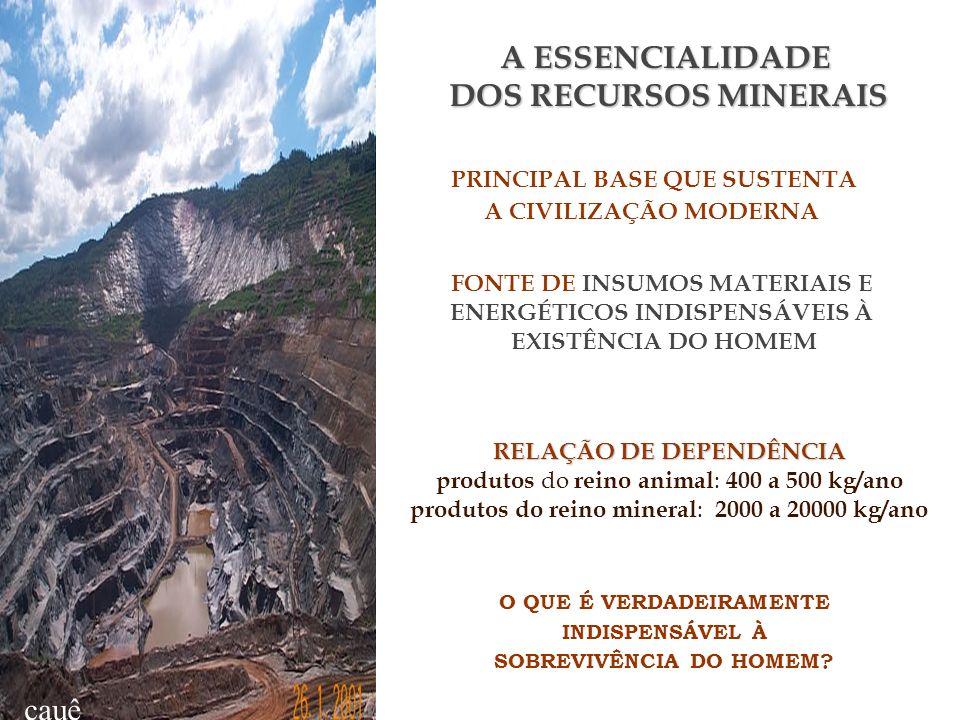 cauê A ESSENCIALIDADE DOS RECURSOS MINERAIS PRINCIPAL BASE QUE SUSTENTA A CIVILIZAÇÃO MODERNA FONTE DE INSUMOS MATERIAIS E ENERGÉTICOS INDISPENSÁVEIS À EXISTÊNCIA DO HOMEM RELAÇÃO DE DEPENDÊNCIA produtos do reino animal : 400 a 500 kg/ano produtos do reino mineral : 2000 a 20000 kg/ano O QUE É VERDADEIRAMENTE INDISPENSÁVEL À SOBREVIVÊNCIA DO HOMEM?