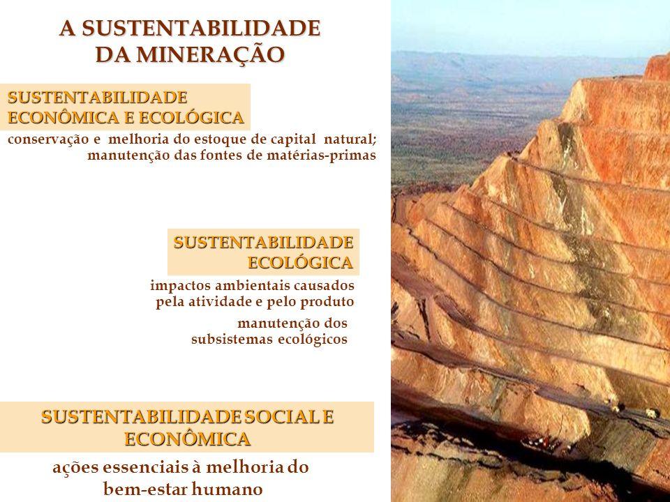 A SUSTENTABILIDADE DA MINERAÇÃO ações essenciais à melhoria do bem-estar humano SUSTENTABILIDADE SOCIAL E ECONÔMICA SUSTENTABILIDADE ECONÔMICA E ECOLÓGICA ANÁLISE MICRO ANÁLISE MICRO : impactos ambientais causados pela atividade e pelo produto manutenção dos subsistemas ecológicos SUSTENTABILIDADEECOLÓGICA conservação e melhoria do estoque de capital natural; manutenção das fontes de matérias-primas