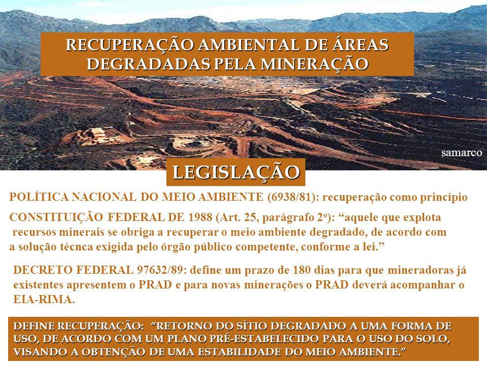 samarco LEGISLAÇÃO POLÍTICA NACIONAL DO MEIO AMBIENTE (6938/81): recuperação como princípio CONSTITUIÇÃO FEDERAL DE 1988 (Art.