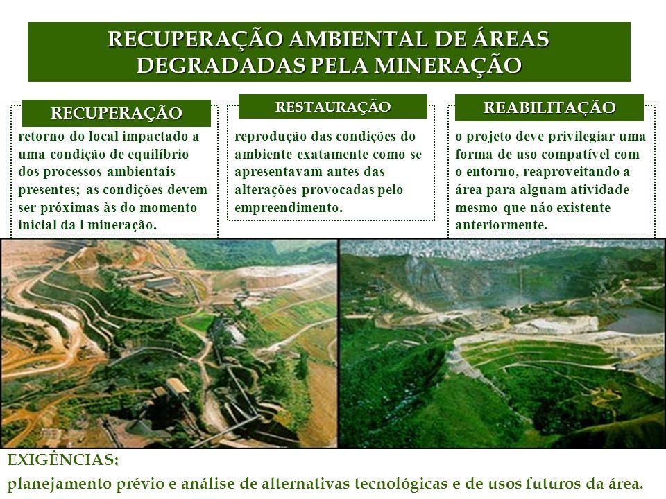 retorno do local impactado a uma condição de equilíbrio dos processos ambientais presentes; as condições devem ser próximas às do momento inicial da l mineração.