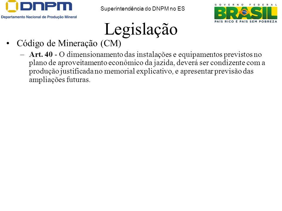 Legislação Código de Mineração (CM) –Art. 40 - O dimensionamento das instalações e equipamentos previstos no plano de aproveitamento econômico da jazi
